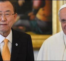 El Pontífice, con el secretario general de la ONU