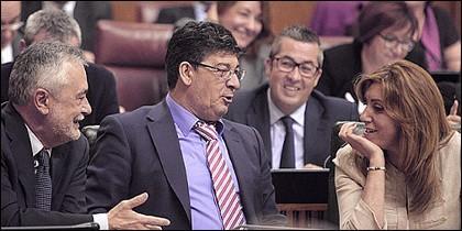 José Antonio Griñán, Diego Valderas y Susana Díaz.