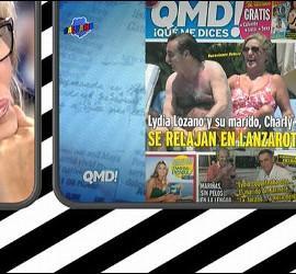 Lydia Lozano ante la portada de '¡QMD!' en la que aprece junto a su marido.