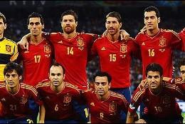 La selección española de fútbol: 'La Roja'.