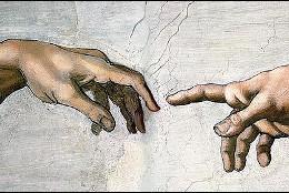 El dedo de Dios da vida a Adán, en la La Capilla Sixtina.