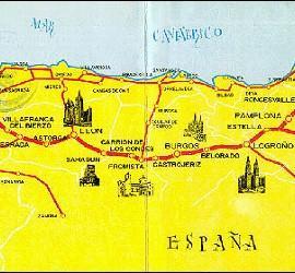 El mapa y ruta del llamado 'Camino Francés, en el Camino de Santiago.