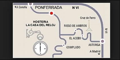 Mapa simplificado para llegar a la Casa del Reloj en el Camino de Santiago.