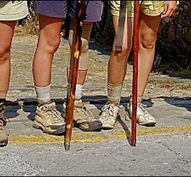 Calzado, pies y bastón del peregrino en el Camino de Santiago.