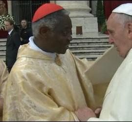 El Papa saluda al cardenal Turkson