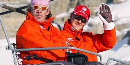Michael Schumacher en la estación de esquí.