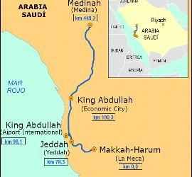 Mapa del AVE a La Meca.