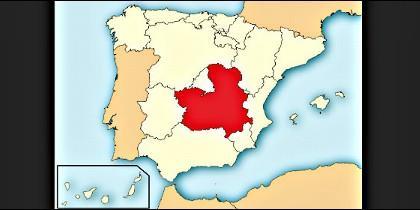 El mapa de España, con Castilla La-Mancha en el centro.