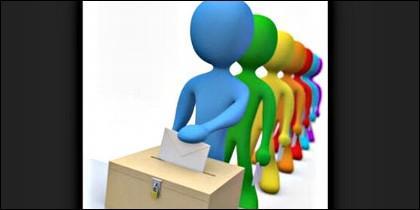 Urna, voto, elección, partido político y ciudadano.