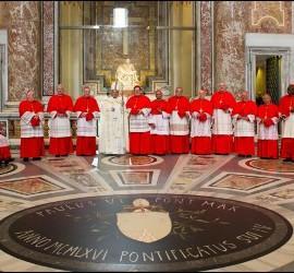 Francisco, con algunos cardenales