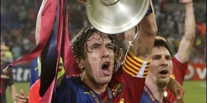 Carles Puyol, en rueda de prensa.