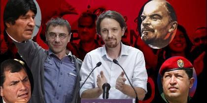 Juan Carlos Monedero y Pablo Iglesias, rodeados de las caras de Morales, Correa, Lenin y Chávez.