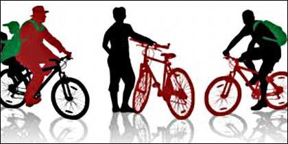 Bicicleta y ciclistas.
