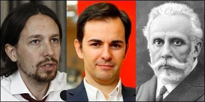 Los tres Pablo Iglesias, de Podemos, de Servimedia y del PSOE.