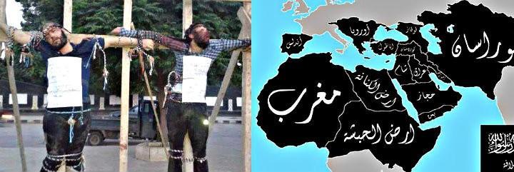 'Infieles' crucificados por los fanáticos del Estado Islámico y el mapa de su futuro Califato.