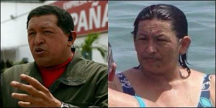 Hugo Chávez y su doble en mujer.