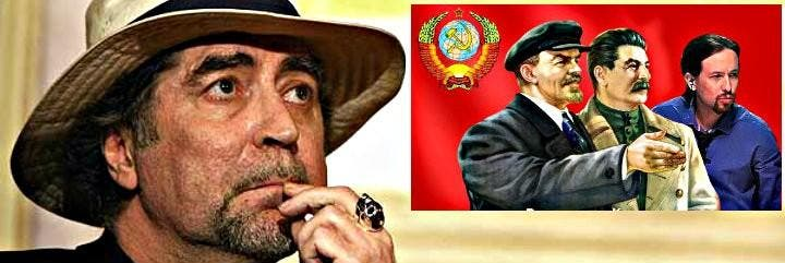 El cantante Joaquín Sabina y en el recuadro de la hoz y el martillo, Lenín, Stalin y Pablo Iglesias.