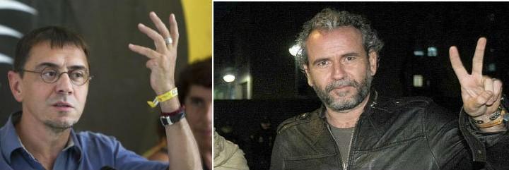 Guerra dialéctica entre Juan Carlos Monedero, ideólogo de 'Podemos', y el lenguaraz Willy Toledo.