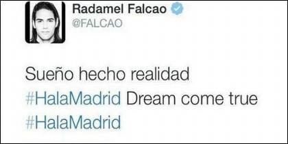 Mensaje de Falcao en Twitter.