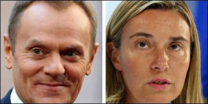 Donald Tusk y Federica Mogherini.