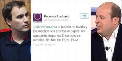 Tuit de Podemos de Anchuelo.
