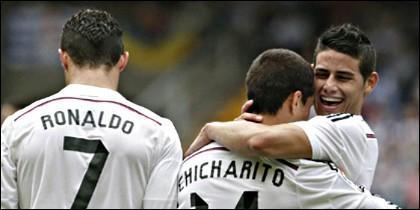 Cristiano Ronaldo, Chicharito y James.