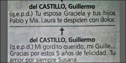 Las dos esquelas de Guillermo Reyes del Castillo.