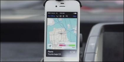 La aplicación de Uber en un iPhone.