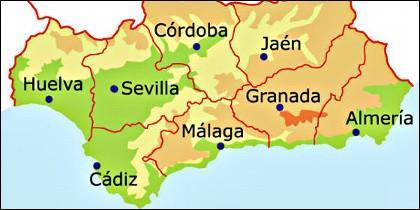 Mapa de las provincias de Andalucía.