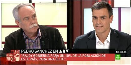 Antonio Pérez Henares y Pedro Sánchez.