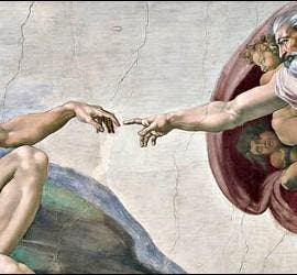Dios crea al hombre, en los frescos de la Capilla Sixtina.