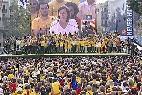 La presidenta de la ANC, Carme Forcadell, en la concentración independentista este 19 de octubre de 2014, en la plaza de Cataluña de Barcelona.