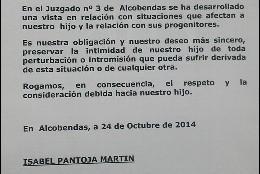 Comunicado Isabel Pantoja Martín y Alberto Isla