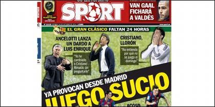 Portada de Sport del 24 de octubre de 2014.