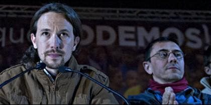 La cúpula de 'Podemos': Pablo Iglesias, Juan Carlos Monedero e Iñigo Errejón.