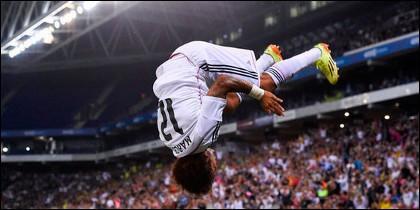 Marcelo celebrando el gol ante el Cornellà.