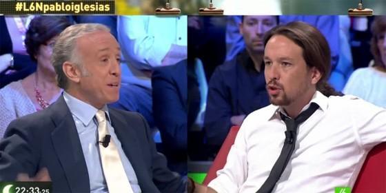 Eduardo Inda y Pablo Iglesias en laSexta Noche.