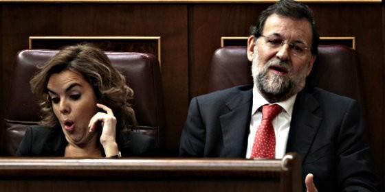 Soraya Sánez de Santamaría con Mariano Rajoy.