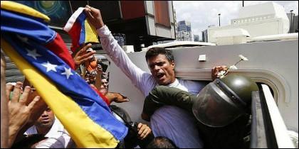 El líder opositor Leopoldo López cuando le metieron preso