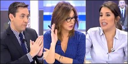 Javier Ruiz, Ana Rosa e Irene Montero.