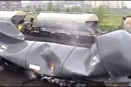 Vagón aplastado en Siberia