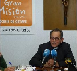 El obispo de Getafe, durante la rueda de prensa