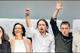 Bescansa, Iglesias, Monedero, Errejón y otros dirigentes de Podemos.