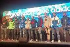 La plantilla del FC Barcelona en un acto de una marca deportiva