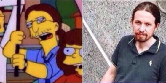 Pablo Iglesias y su doble en 'Los Simpsons'