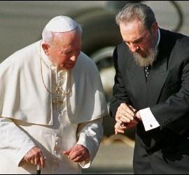 Wojtyla y Fidel en cuba