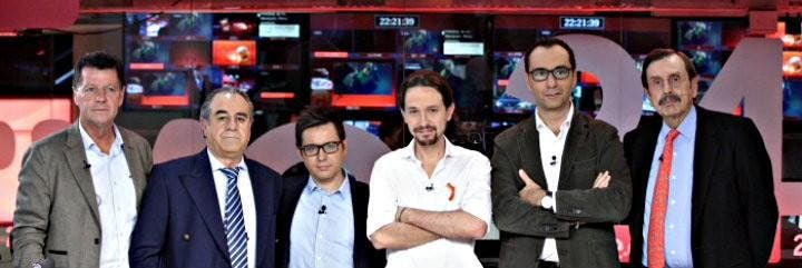 Alfonso Rojo, Graciano Palomo, Sergio Martín, Iglesias, Julio César Herrero y Antonio Papell, en TVE.