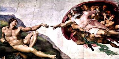 Creación del Hombre por Dios, en el texho de la Capilla Sixtina del Vaticano.