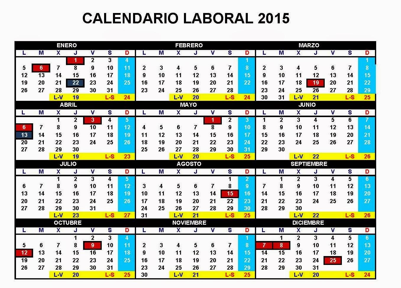 Conoce el calendario laboral de las jornadas que no tendrás que ir a ...