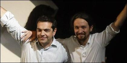 Alexis Tsipras (Syriza) junto a Pablo Iglesias (Podemos).